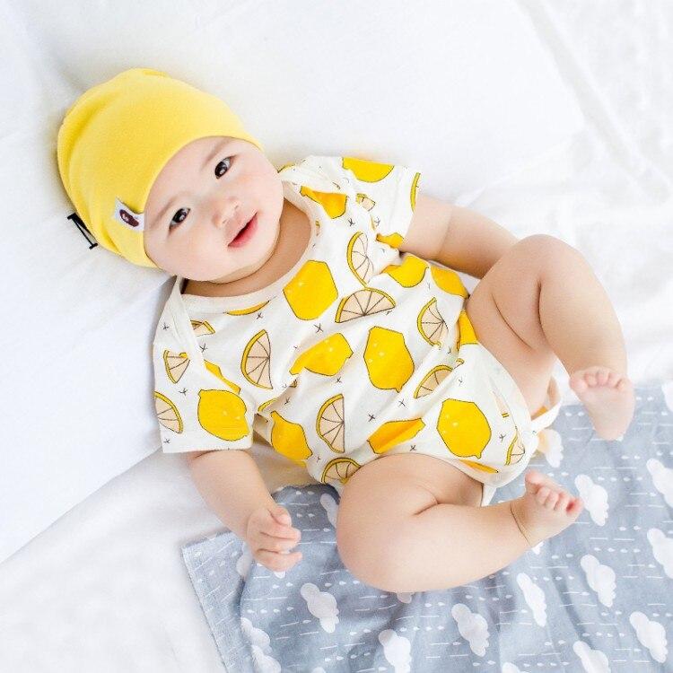 T niñas lemon imprimir monos del bebé mamelucos de algodón de manga corta tipo c