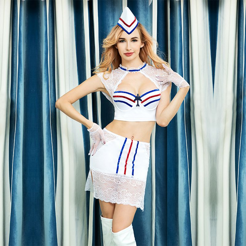 high quality woman sexy costumes stewardess uniform air hostess suits tops skirt white lace patchwork carnival dress 6319