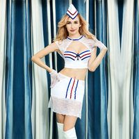 JSY high quality woman sexy costumes stewardess uniform air hostess suits tops skirt white lace patchwork carnival dress 6319