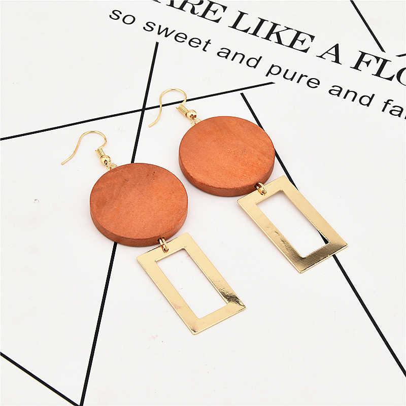 Горячая Круглые деревянные серьги длинное эффектное золотые серьги прямоугольник мотаться падение серьги для Для женщин Модные украшения серьги-гвоздики женские