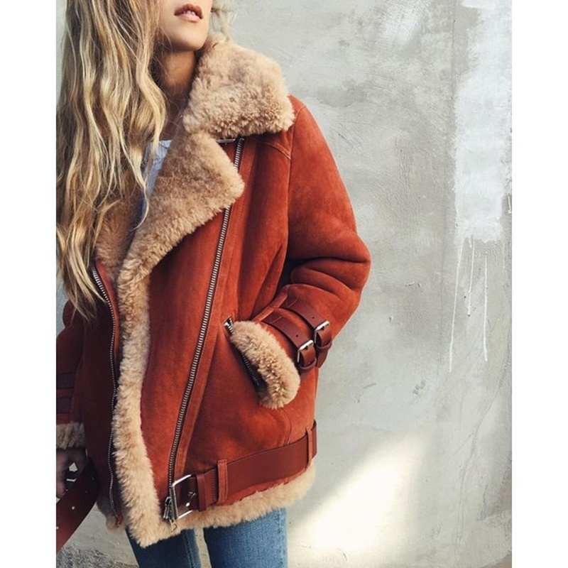 Women's Fashion Autumn Winter Cotton Coat Jacket   Leather   Motorcycle Loose Version Large Size Zipper Double Pockets Deer Velvet