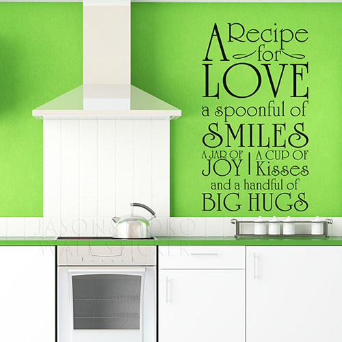DIY A Recipe For Love English Words Kitchen Cookhouse Wall ...