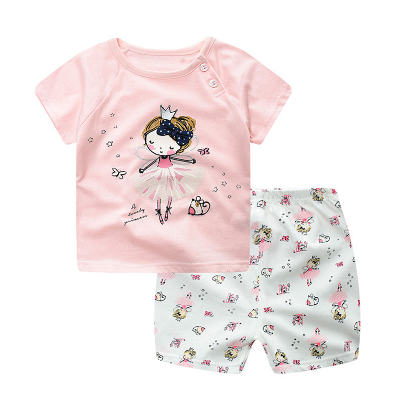 Newborn Baby Boys Girls Clothes Cartoon Cotton Baby Clothing Set Short +Pant 2pcs Summer Spring Suit Luck Girl Clothing Set 2018 cotton baby rompers set newborn clothes baby clothing boys girls cartoon jumpsuits long sleeve overalls coveralls autumn winter