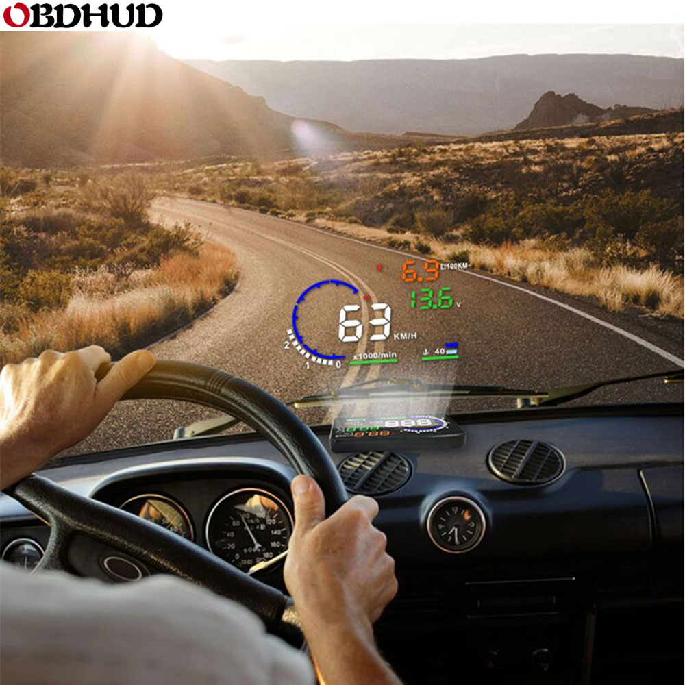 Genuine OBDHUD A8 5.5In HeadUp Display Car Windshield Projector OBDII Speed Warning Fuel Consumption Automobile Car Alarm System-in Head-up Display from Automobiles & Motorcycles
