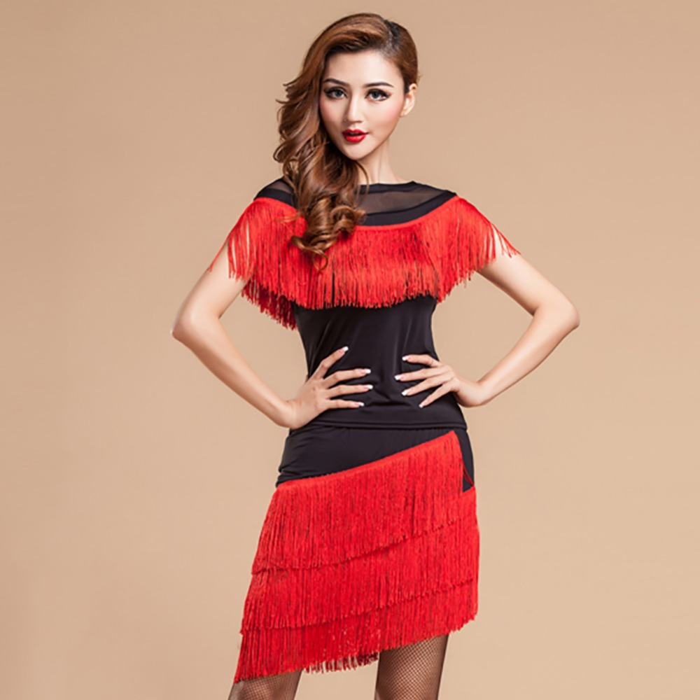 47bf588c0a66 Latin Dance Dress Women Red/Black/Leopard Stage Costumes Tassel 2 Pcs  Top&Skirt Baile Latino Cha Cha/Samba/Latin Party Dresses-in Latin from  Novelty ...