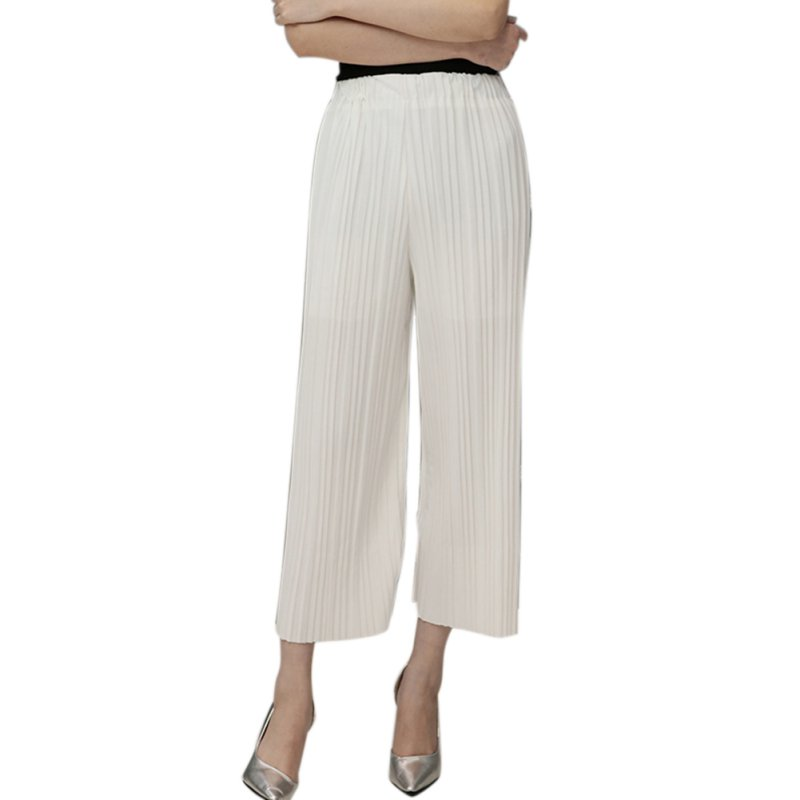 42643c9ff6 Summer Pant Elastic Waist High Waist Pleated Pants Nine Wide Leg Pants Big  Swing Culottes For Women-in Pants & Capris from Women's Clothing on ...