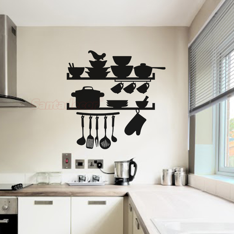 Stickers Cuisine Utensils Stockpot And Dishes Vinyl Wall Decor Kitchen Art Decal Home Poster House Decoration Aliexpress