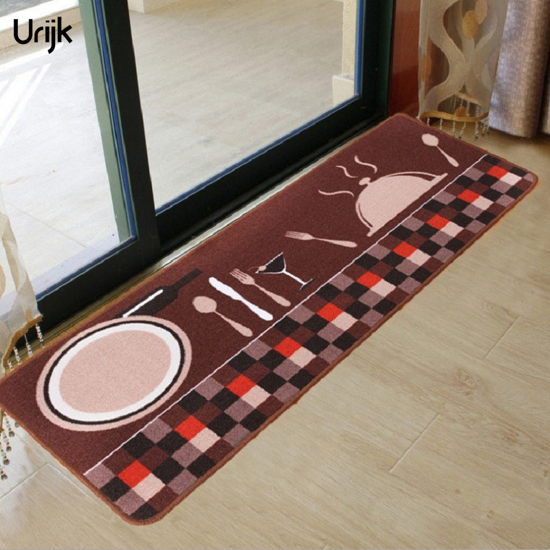 Urijk 1PC Coffee Color Polyester Floor Carpet for Kitchen Bathroom Decorative Cook Non-Slip Floor Mats Area Rug Modern Rugs