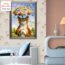 Menjahit, DMC DIY Cross-Stitch, Full Bordir Kit kucing Kapas Pola Cina Cross Stitch Dicetak Pada Kanvas(China)
