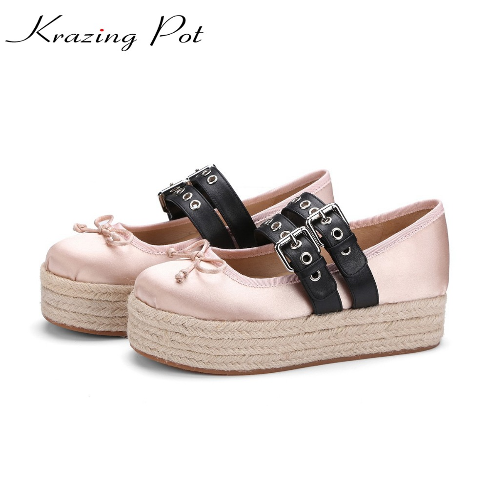 Krazing pot bowtie silk round toe young lady rivets oriental med heels wedges women pumps sweet fairy British school shoes L23 2017 fashion shallow sheep suede brand shoes round toe preppy style med heels solid sweet pumps slingback sandals young lady l22