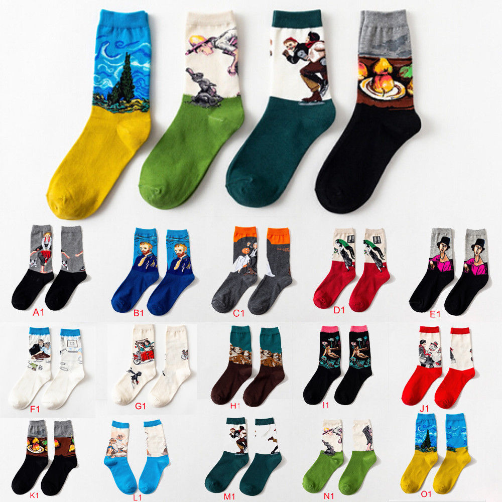 2019 Vintage Fashion Retro Art Oil Painting Style Men Unisex Winter Casual Cotton Socks