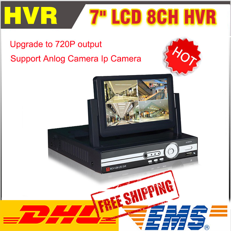 8 Channel AHD 7inch LCD 720P Hybrid HVR/DVR NVR CCTV 8CH DVR Recorder Support AHD+Analog+IP Camera Mobile Phone Viewing
