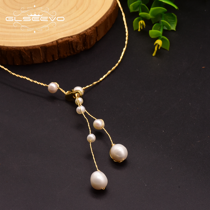 GLSEEVO Natural Fresh Water Pearl Necklace For Women Wedding Birthday Gift Twist Necklace Jewelry Collares De Moda 2019 GN0122-in Necklaces from Jewelry & Accessories