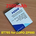 2500mah BT78S / BT78T Mobile Phone Battery for ZOPO C2 ZOPO ZP980 ZP980+ C3 Phone