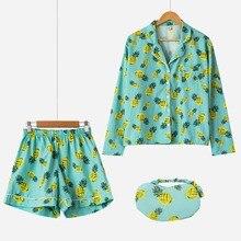 Новый 2017 Пижамы для девочек Для женщин с принтом ананаса Комплект из 3-х предметов с длинным рукавом топ и шорты эластичный пояс + Блиндер свободные S61201