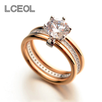 LCEOL Hot Sell Rose White Gold Plated Anillos 3 Circle Rings Set Wedding Brand Fashion Jewelry
