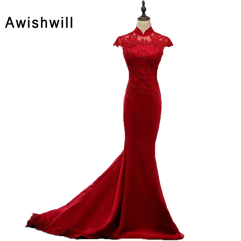Femmes élégant rouge longue sirène robes De soirée 2019 Cap manches perlées Appliques Satin Robe formelle pour Robe De soirée