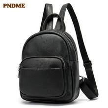 PNDME fashion genuine leather female small cute backpack for mini womens bookbags casual soft cowhide black kawaii bagpack 2019