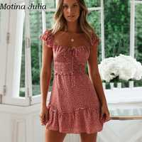 Motina Julia Sexy off schouder polka dot jurk Zomer chiffon korte ruches jurk vrouwelijke Casual daily mini jurk vestidos