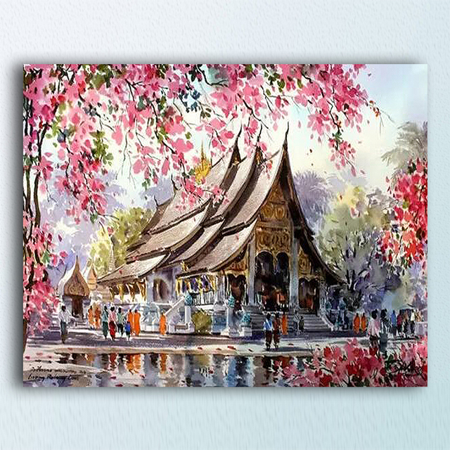 ART DRAW Japan Cherry Blossom Temple Framed DIY Oil