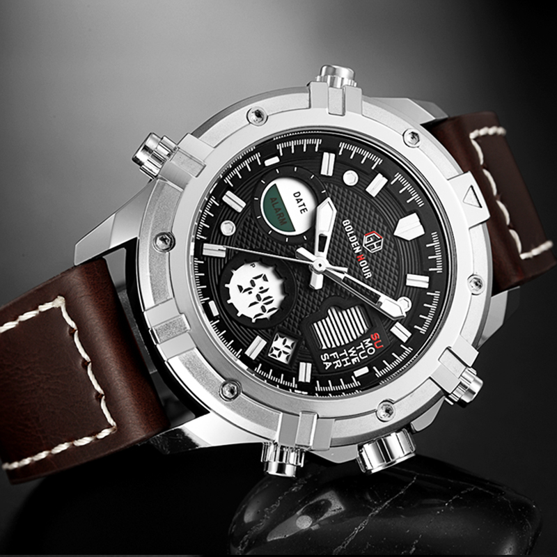 Men Sport Watches Quartz LED Digital Analog Wristwatch 2018 Multifunction 30M Waterproof Leather Outdoor Sport Men Watch цена и фото