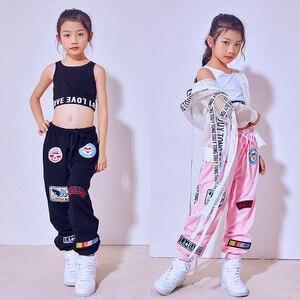 Image 2 - Yeni moda siyah pembe caz dans pantolon çocuk Hip Hop pantolon sokak dans Ds kostüm pantolon gevşek rahat Sweatpants DL2469