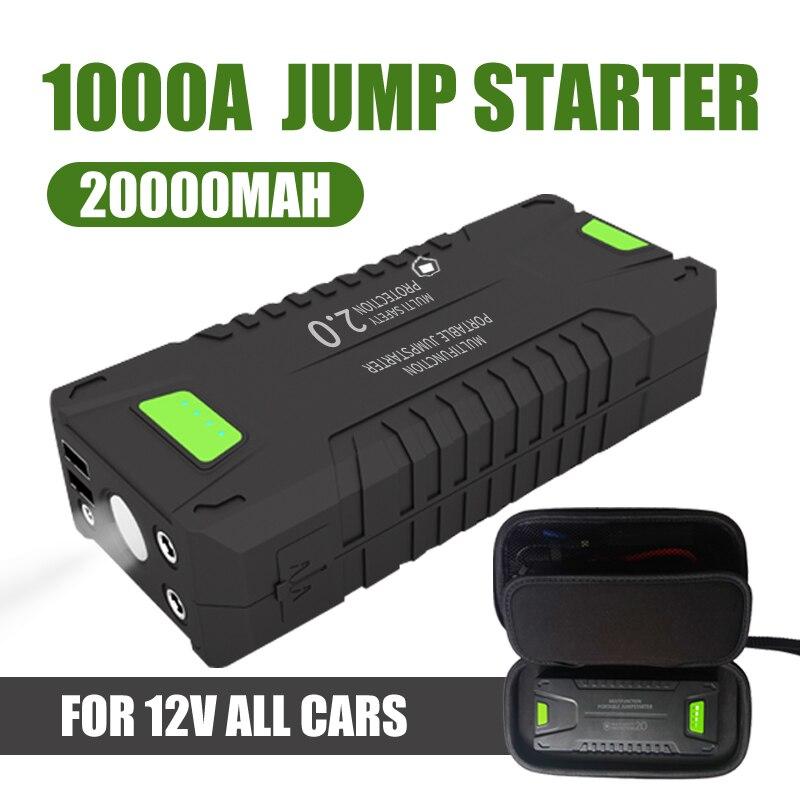 Voiture saut démarreur 20000mAh 1000A véhicule batterie de secours Portable 12V externe voiture batterie Booster multi-fonction batterie externe