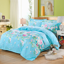 Korean blue pastoral small floral Winter soft velvet bedding set super warm bed sheet duvet cover pillowcase soft bedding