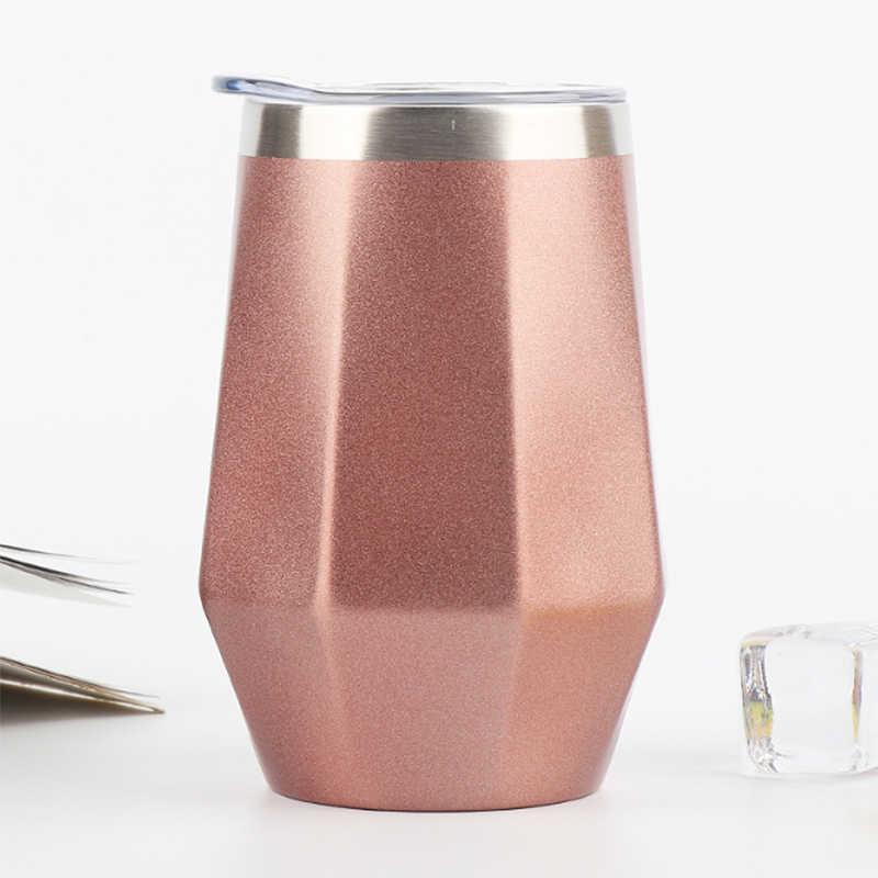 12 uncji ze stali nierdzewnej próżniowe kolby wina diament w kształcie jajka kubek samochodowy kawy butelka termosowa mleka termo kubek termiczny Tumbler