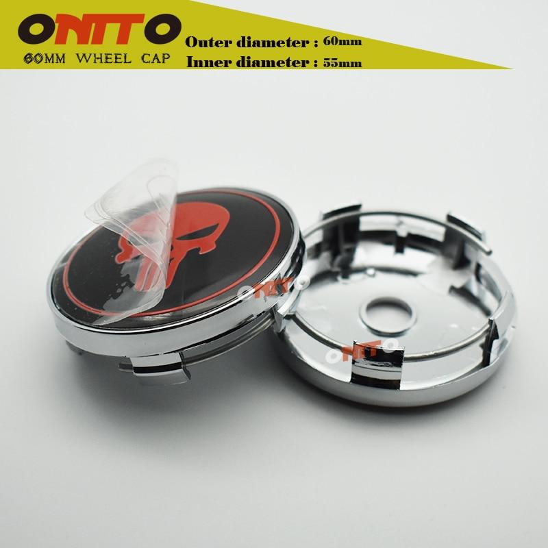 4pcs 60mm cover 56mm Cool Punisher Car Steering tire Wheel Center car sticker Hub Cap Emblem Badge Decals Symbol Car styling