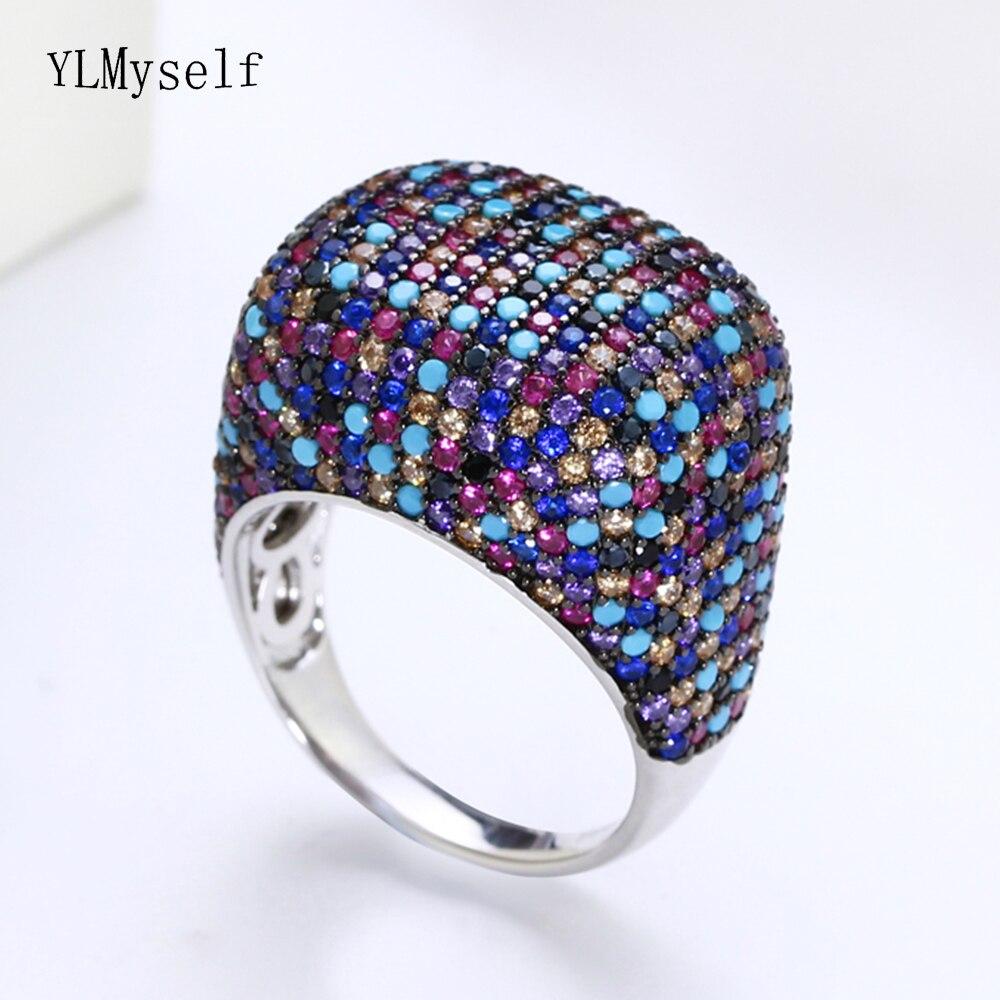 Réel 925 bague en argent sterling magnifique multi zircon coloré cristal de luxe bijoux en argent 925 bagues femmes pour la fête
