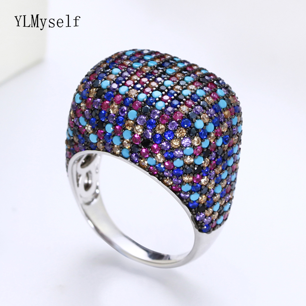 Real 925 sterling silver ring Gorgeous multi cubic zirconia colorful crystal luxury silver jewelry 925 female rings for partyReal 925 sterling silver ring Gorgeous multi cubic zirconia colorful crystal luxury silver jewelry 925 female rings for party