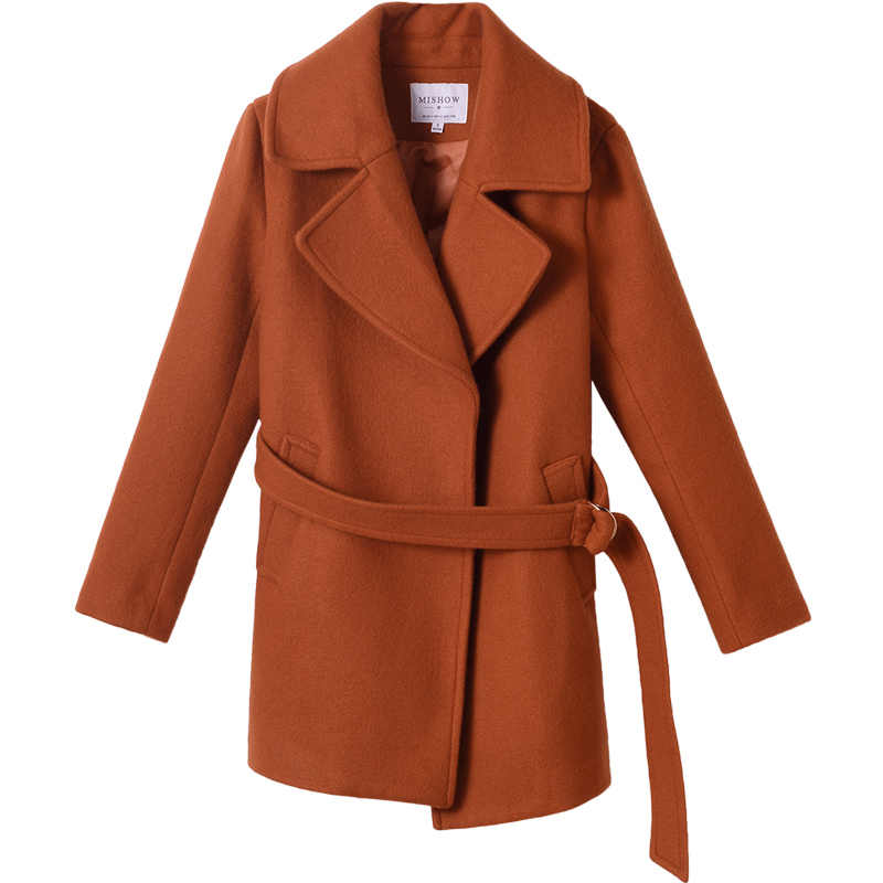 Mishow wool blends notch lapel collar pocket sashes women coat 2019 spring long outwear officelady elegent coat MX17C9627
