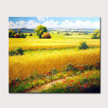 Ручная роспись пейзаж масляная живопись Безрамная декоративная живопись Настенная живопись цветок холст Пейзаж картины на холсте