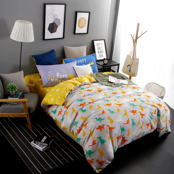 New Design Jurassic Dinosaurs 4pcs Bedding Set Cartoon Home Textile Twin Full Queen King Size bedclothes bed Linen bed sheet