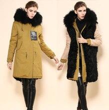 Yellow outside winter women long style jacket fur collar coats black wool lining parkas