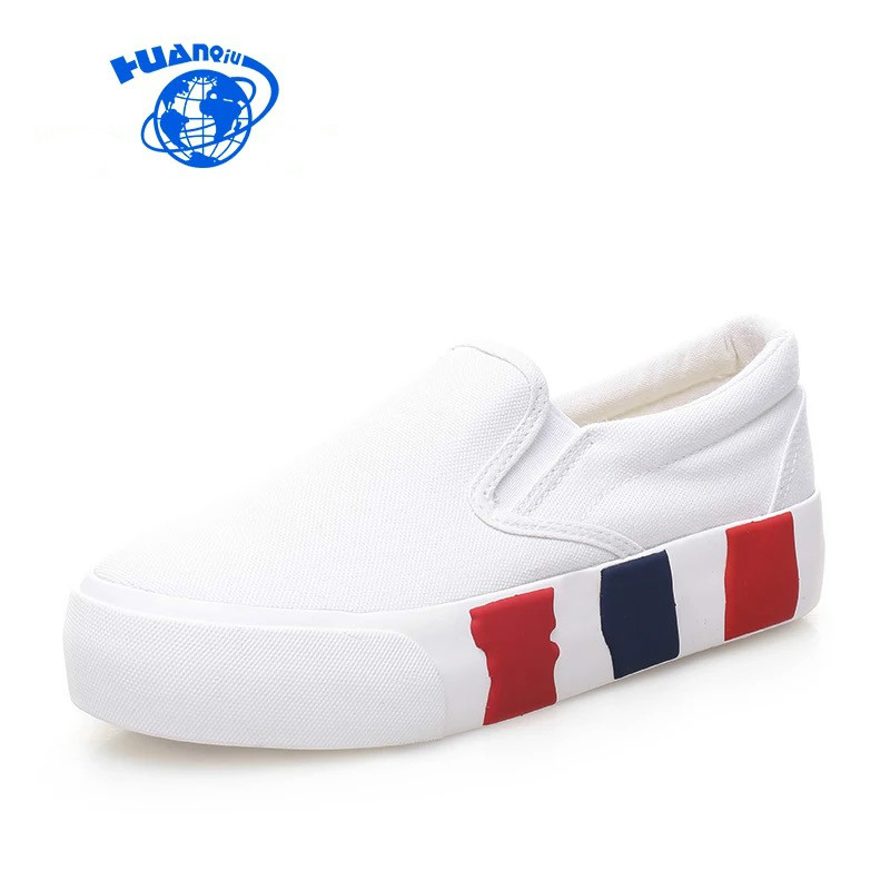 HUANQIU 2017 Brand New Arrival Platform Pedal Canvas Shoes Women Spring Summer Brief Casual Shoes Slip on Solid Color Size 35-39 free shipping new arrival 2017 women trendy candy colored slip on canvas shoes platform canvas casual loafers size 35 40