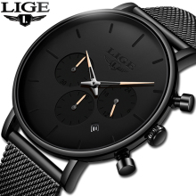 LIGE New Business Date Mens Watches Top Brand Luxury Waterproof Sport Watch Men Ultra Thin Dial Quartz Watch Casual Reloj Hombre
