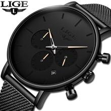 Nuevo Reloj LIGE para Hombre con fecha de negocios, de lujo, resistente al agua, Reloj deportivo Ultra delgado, Reloj de cuarzo, Reloj informal para Hombre