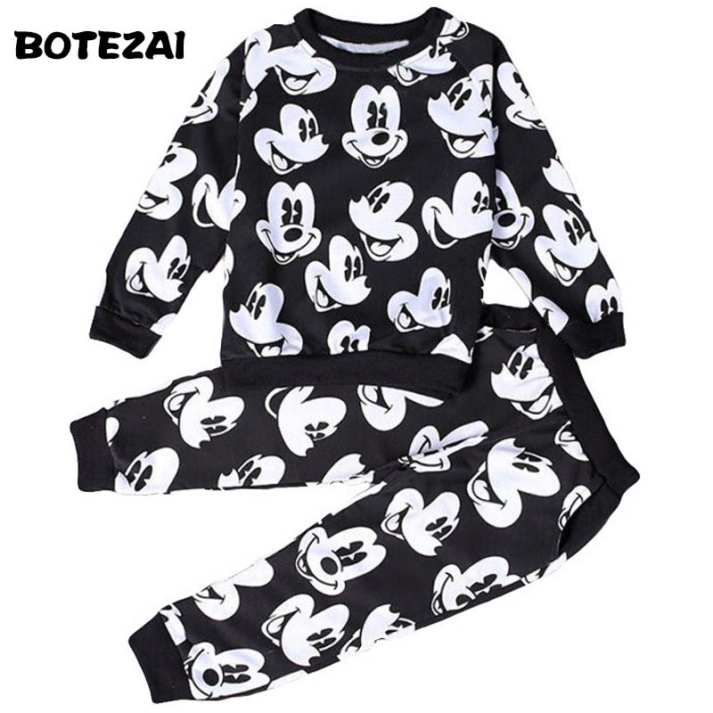 2017 Baby Boys Girls Fashion Sport Suit Kids Mickey Clothes Children's Sweater + Trousers Two Pieces Clothing Set Cotton Jerseys