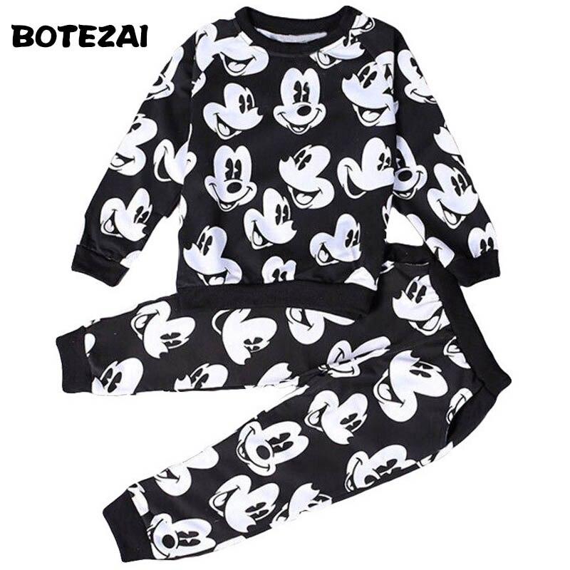 2017 bebê meninos meninas moda esporte terno crianças mickey roupas camisola + calças duas peças conjunto de roupas de algodão