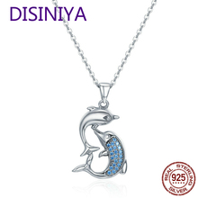DISINIYA Romantic 100% 925 Sterling Silver Love Dolphins Pendant Necklace For Women Jewelry Mothers Day Gift CQN168