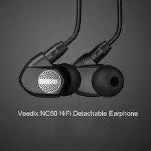 Original Veedix NC50 Earphone HiFi Music Headset Detachable HiFi Earphones In-ear With MIC fone de ouvido auriculares audifonos