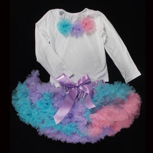 2017 new Children's sets long sleeve tops + skirts Rainbow pettiskirt pink purple blue color girls clothes