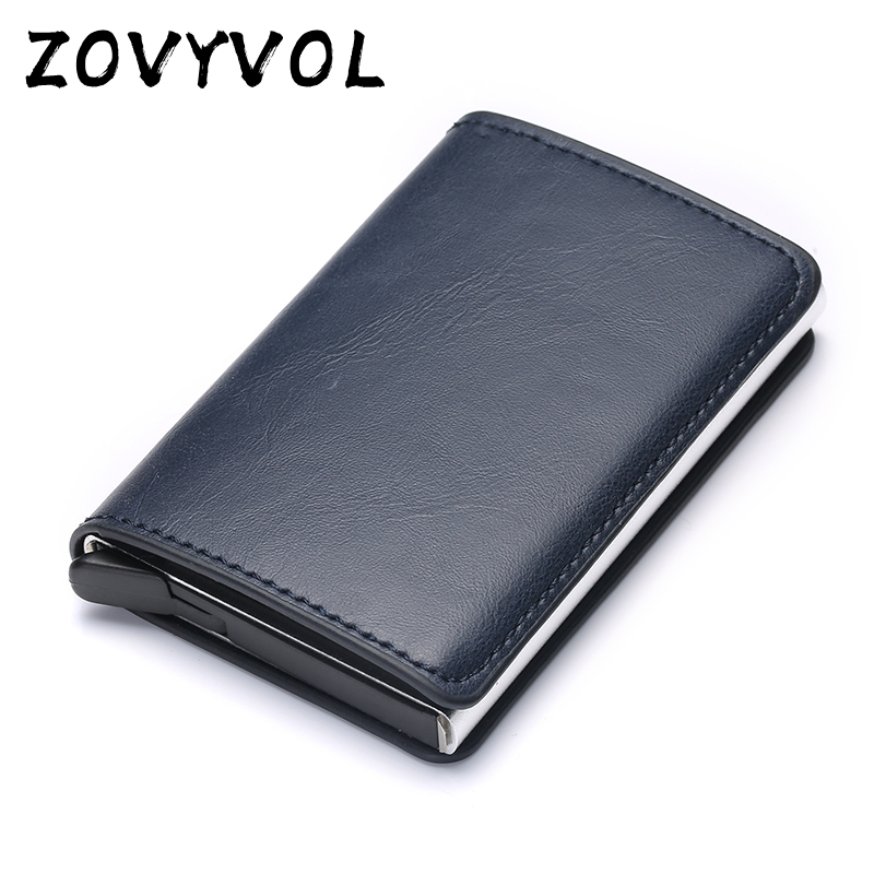 ZOVYVOL Wallet Credit-Card-Holder Rfid Metal Antitheft Vintage Automatic PU Blocking
