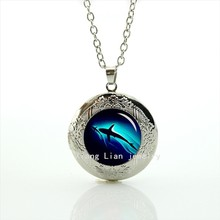 The best loved animal black shark deep sea picture locket necklace gift for Children and kids T794(China)