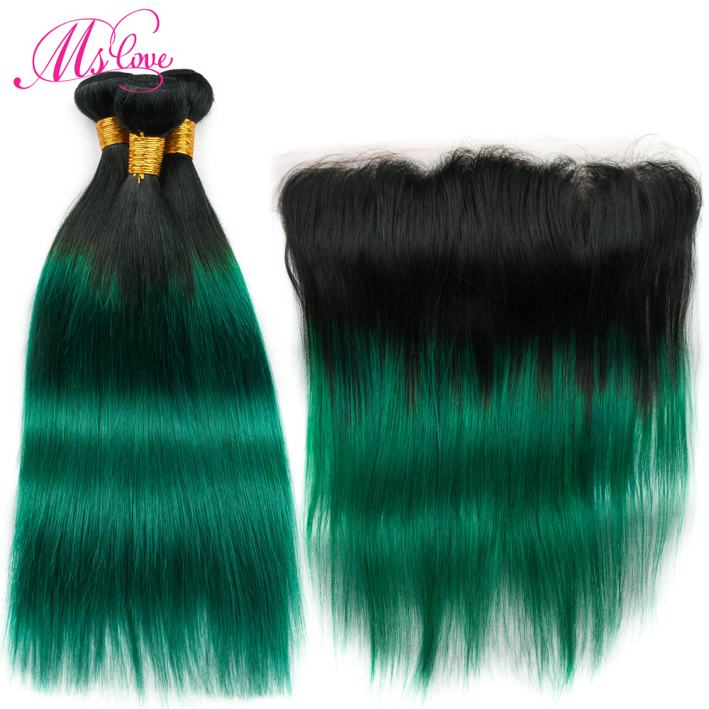 Ms Love Ombre Green Bundles With Frontal 13 4 Lace Closure Brazilian Straight Hair Bundles With