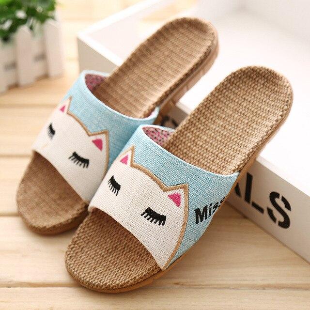 Men Women Cartoon Lovers Indoor Slippers Rabbit Cat Summer Flat Heels Slippers Non-Slip Beach Slides Home Floor Shoes
