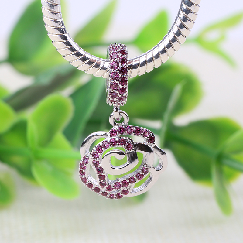 2018 New Fit Pandora Charm Bracelet 925 Color Silver Jewelry Purple Flower Crystal Clear CZ Crystal Original DIY Charms Beads