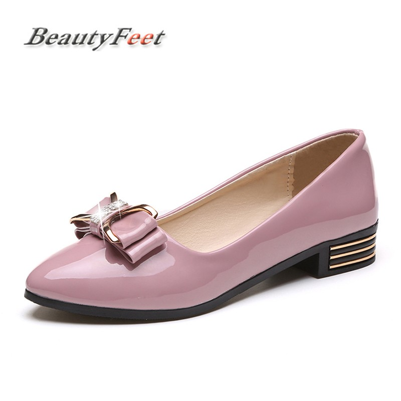 Flats Shoes Woman Patent Leather Low Heel Slip on Comfortable Casual Women Shoes Footwear Leisure Bow Knot Loafers BeautyFeet aiyuqi 2018 new spring genuine leather female comfortable shoes bow commuter casual low heeled mother shoes woeme